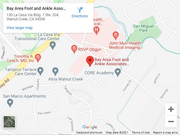 Directions From Your Location to Bay Area Foot and Ankle Associates in Walnut Creek, CA (Near John Muir Medical Center)